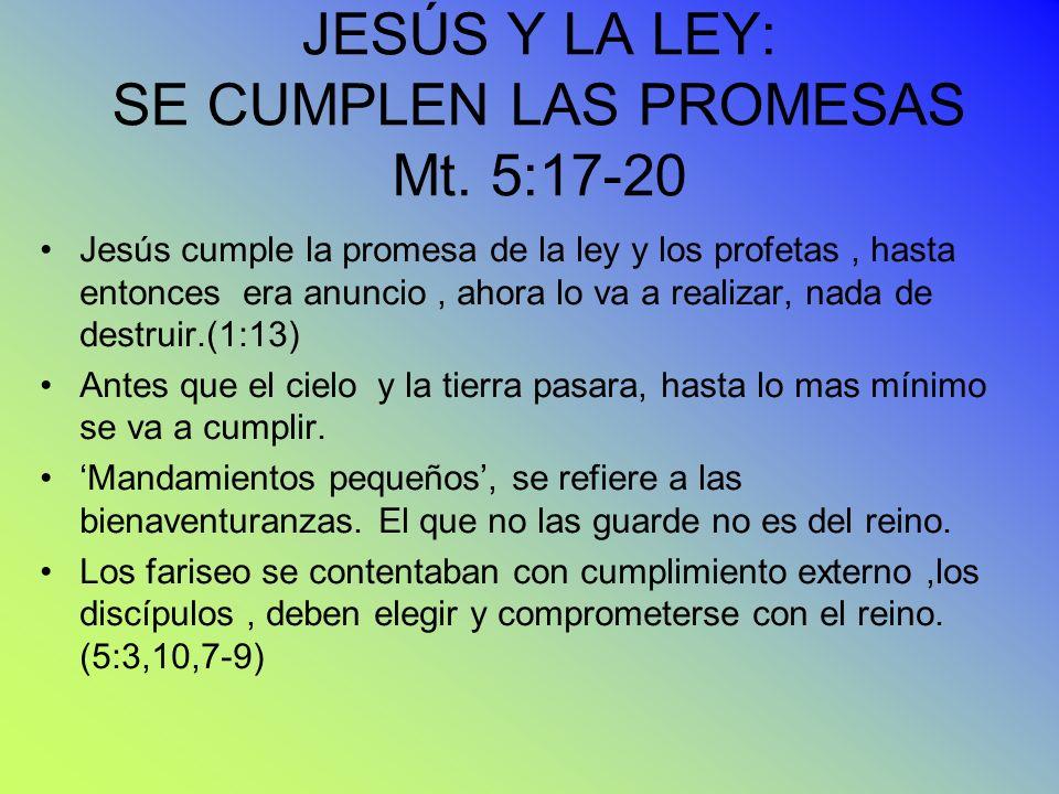 JESÚS Y LA LEY: SE CUMPLEN LAS PROMESAS Mt. 5:17-20