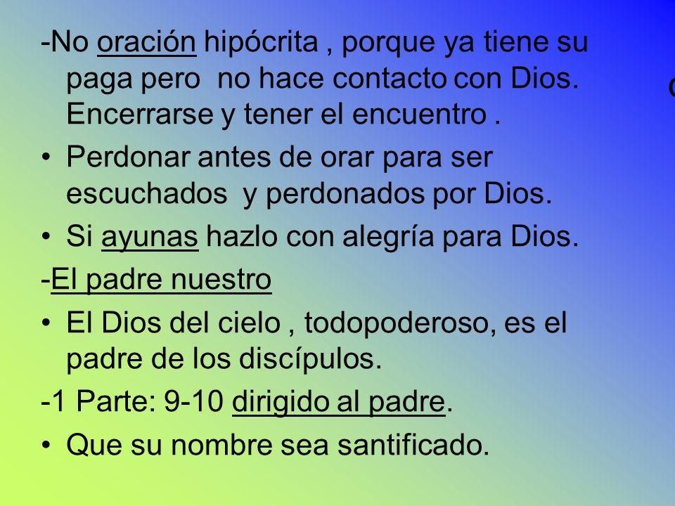 -No oración hipócrita , porque ya tiene su paga pero no hace contacto con Dios. Encerrarse y tener el encuentro .