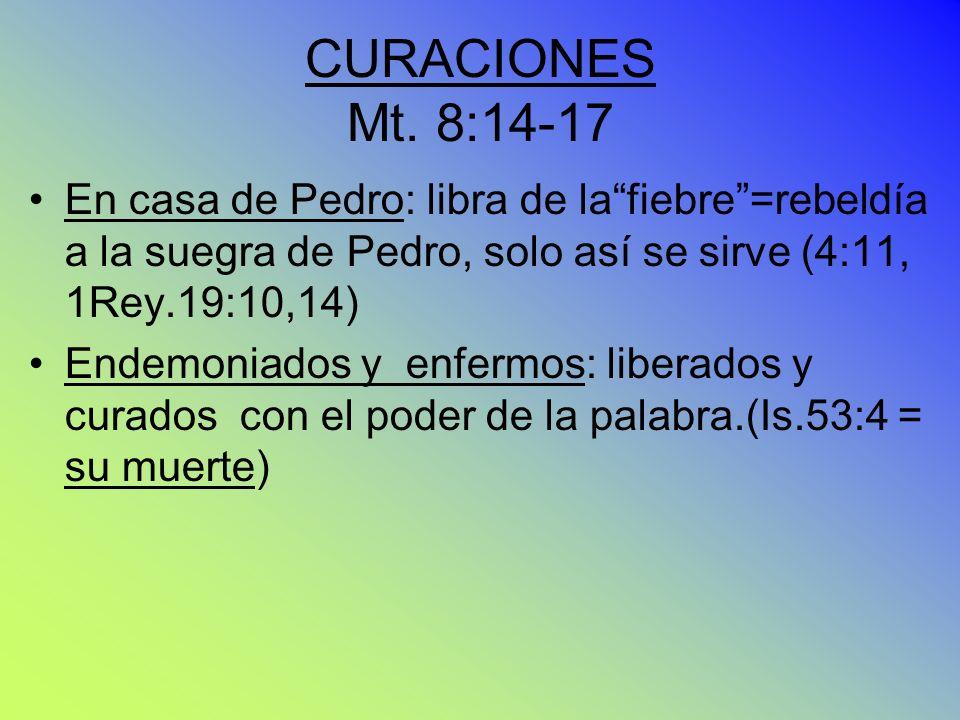 CURACIONES Mt. 8:14-17 En casa de Pedro: libra de la fiebre =rebeldía a la suegra de Pedro, solo así se sirve (4:11, 1Rey.19:10,14)