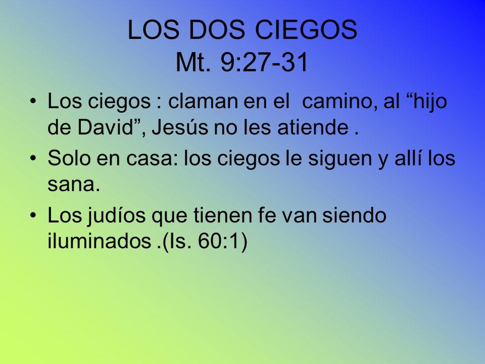 LOS DOS CIEGOS Mt. 9:27-31 Los ciegos : claman en el camino, al hijo de David , Jesús no les atiende .