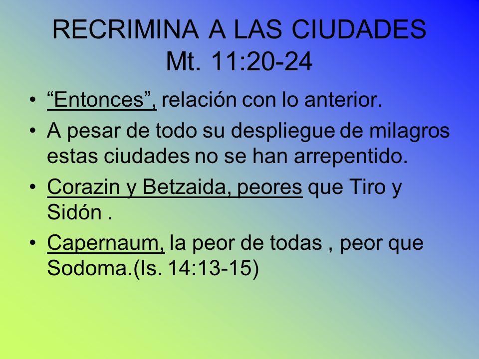 RECRIMINA A LAS CIUDADES Mt. 11:20-24