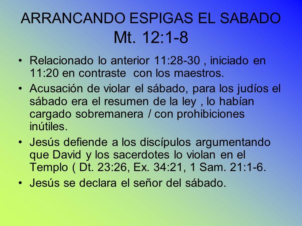 ARRANCANDO ESPIGAS EL SABADO Mt. 12:1-8