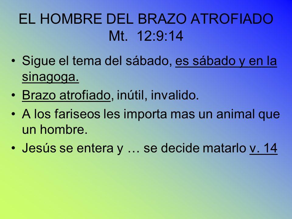 EL HOMBRE DEL BRAZO ATROFIADO Mt. 12:9:14