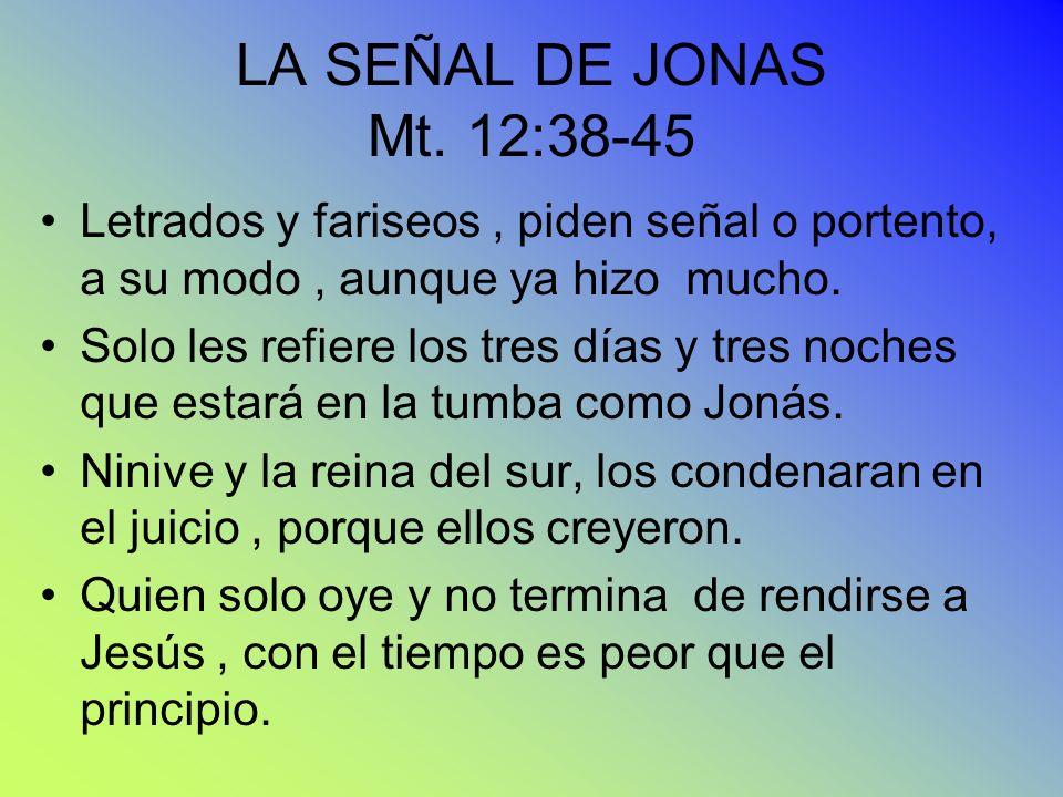 LA SEÑAL DE JONAS Mt. 12:38-45 Letrados y fariseos , piden señal o portento, a su modo , aunque ya hizo mucho.