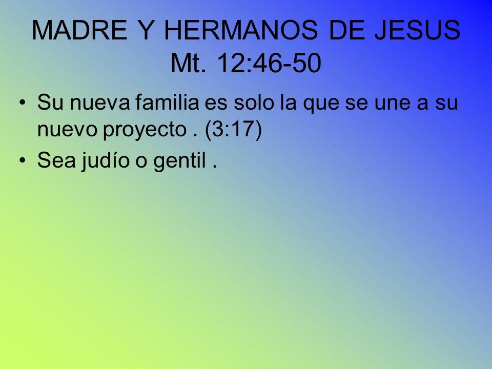 MADRE Y HERMANOS DE JESUS Mt. 12:46-50
