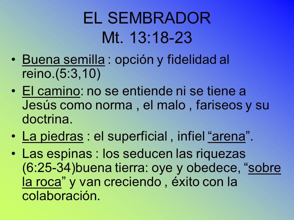 EL SEMBRADOR Mt. 13:18-23 Buena semilla : opción y fidelidad al reino.(5:3,10)