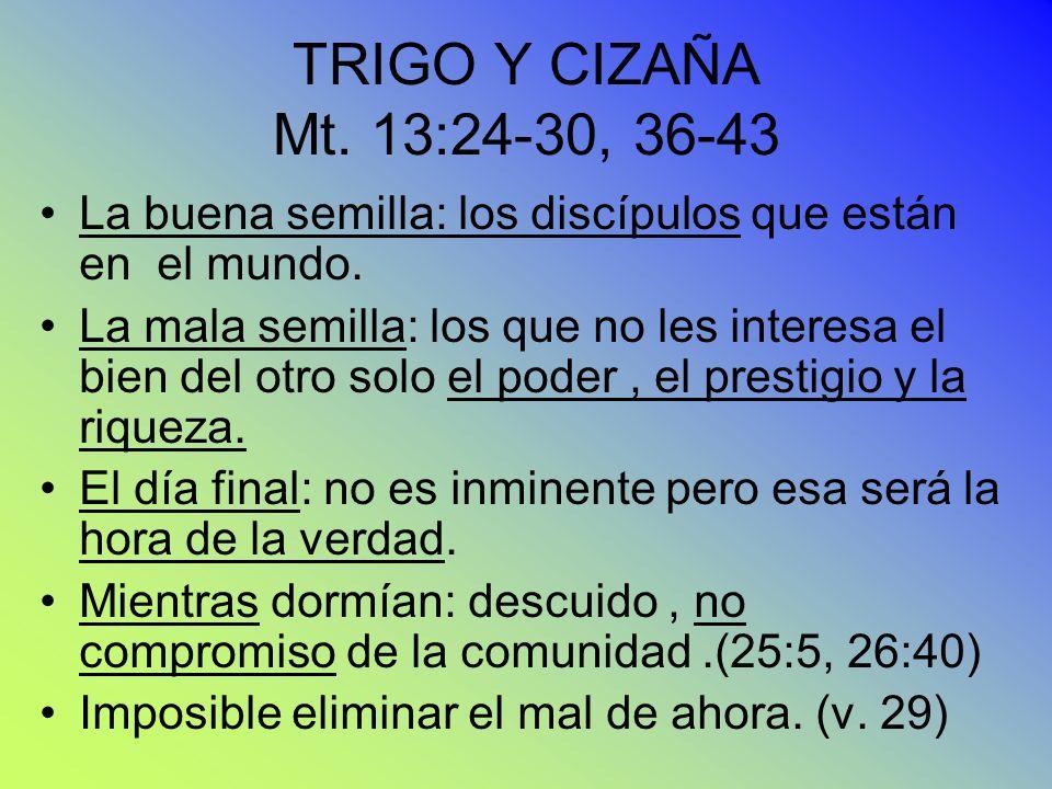 TRIGO Y CIZAÑA Mt. 13:24-30, 36-43 La buena semilla: los discípulos que están en el mundo.