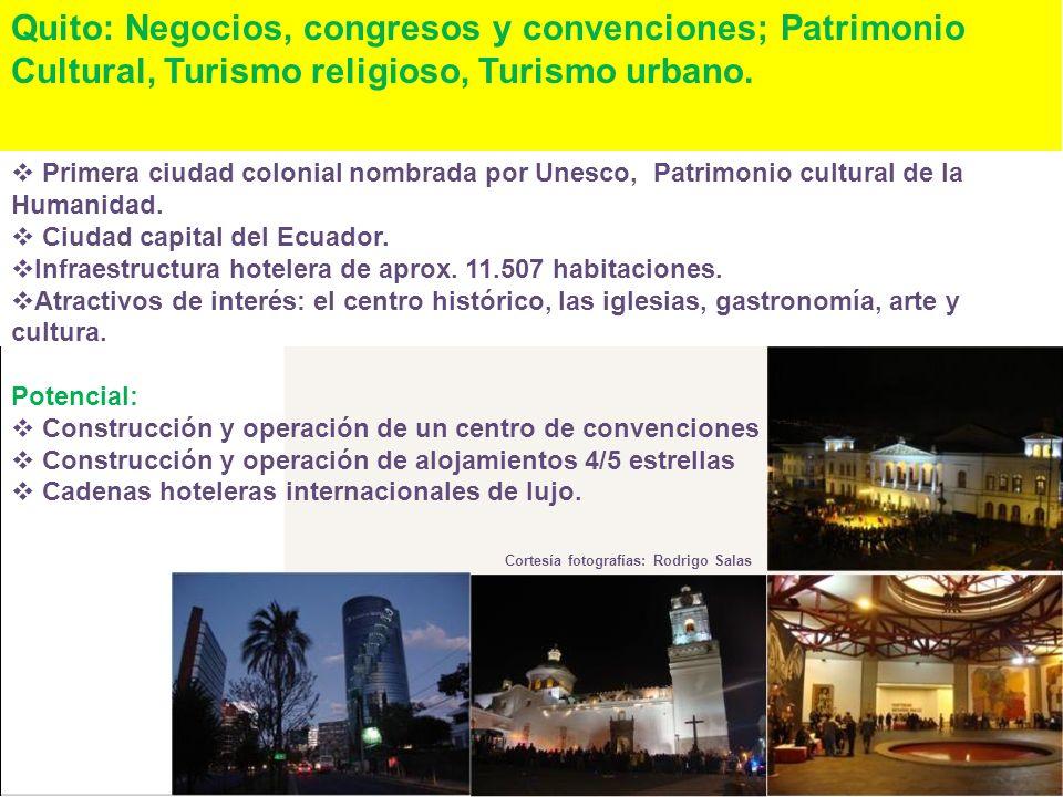 Quito: Negocios, congresos y convenciones; Patrimonio Cultural, Turismo religioso, Turismo urbano.