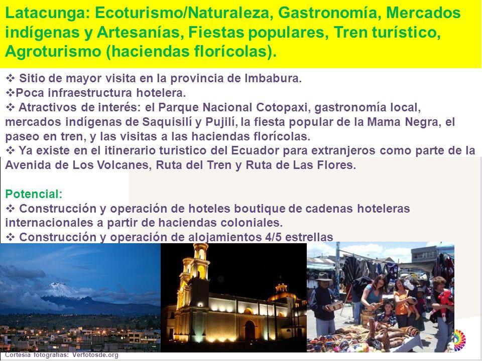 Latacunga: Ecoturismo/Naturaleza, Gastronomía, Mercados indígenas y Artesanías, Fiestas populares, Tren turístico, Agroturismo (haciendas florícolas).