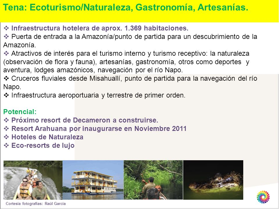 Tena: Ecoturismo/Naturaleza, Gastronomía, Artesanías.