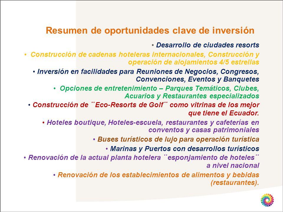Resumen de oportunidades clave de inversión