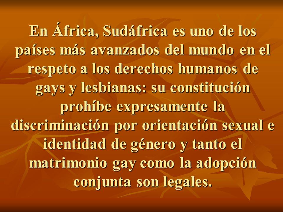 En África, Sudáfrica es uno de los países más avanzados del mundo en el respeto a los derechos humanos de gays y lesbianas: su constitución prohíbe expresamente la discriminación por orientación sexual e identidad de género y tanto el matrimonio gay como la adopción conjunta son legales.