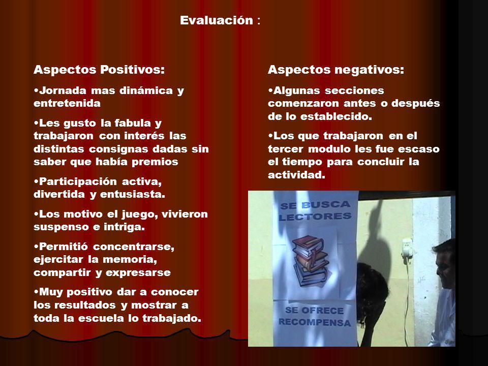 Evaluación : Aspectos Positivos: Aspectos negativos: