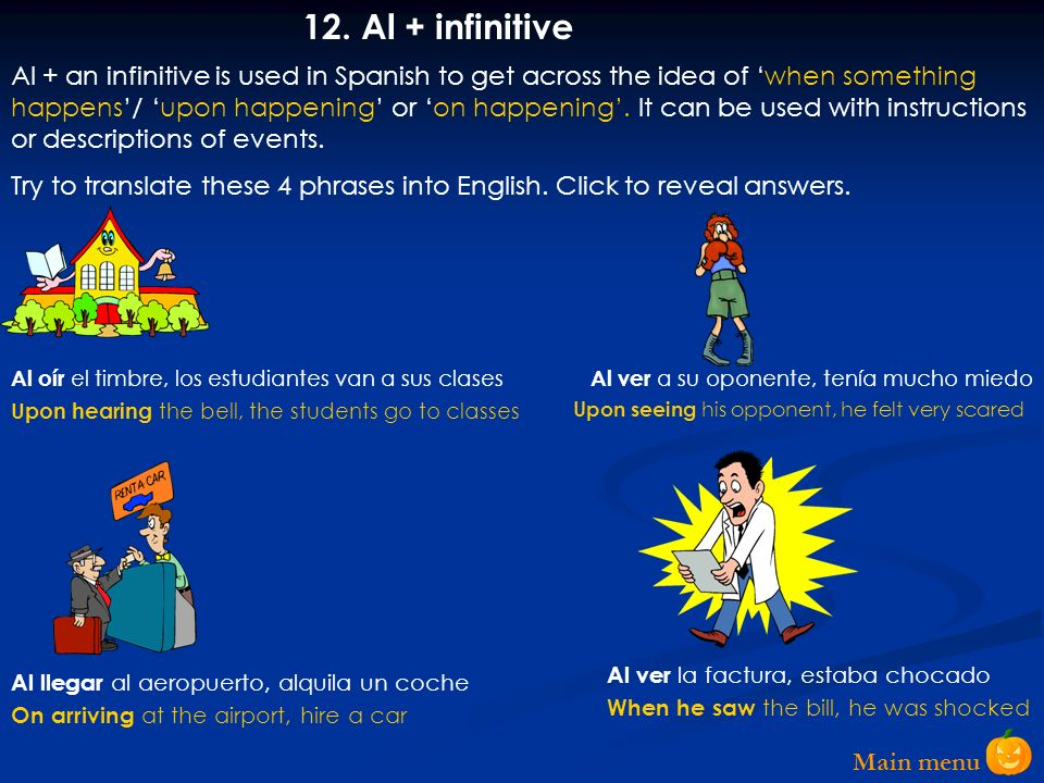 12. Al + infinitive