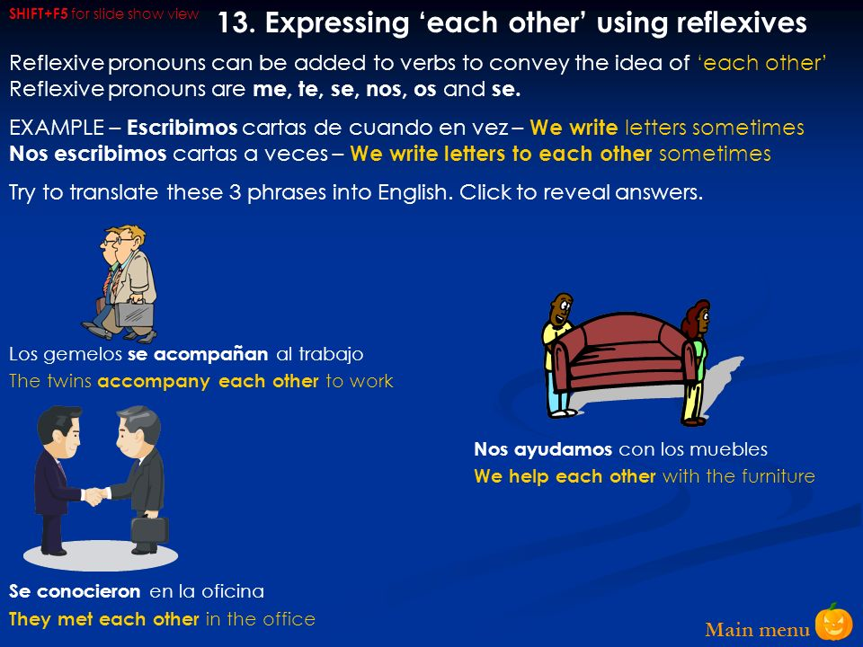 13. Expressing 'each other' using reflexives