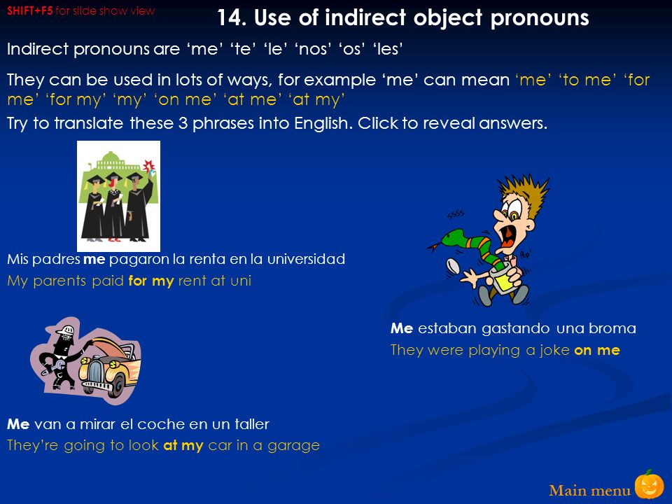 14. Use of indirect object pronouns