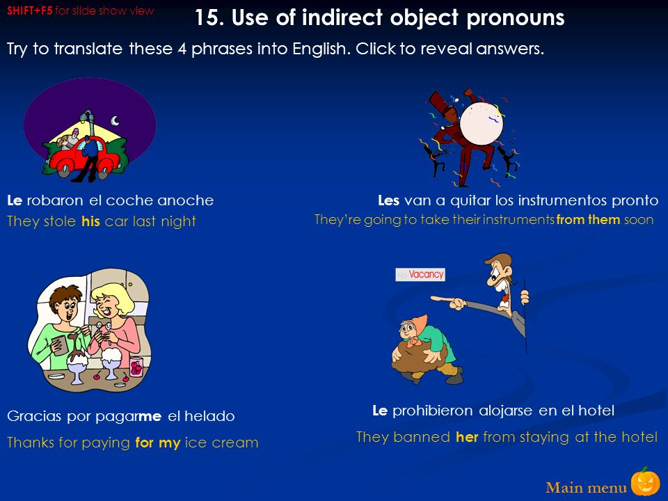 15. Use of indirect object pronouns