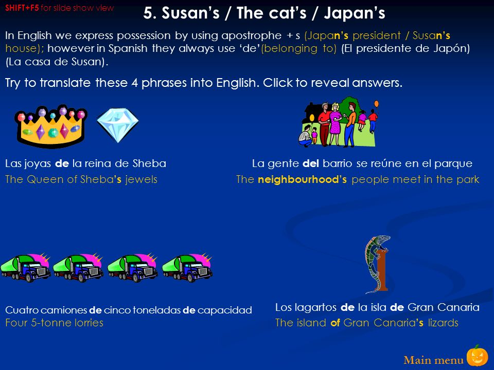 5. Susan's / The cat's / Japan's