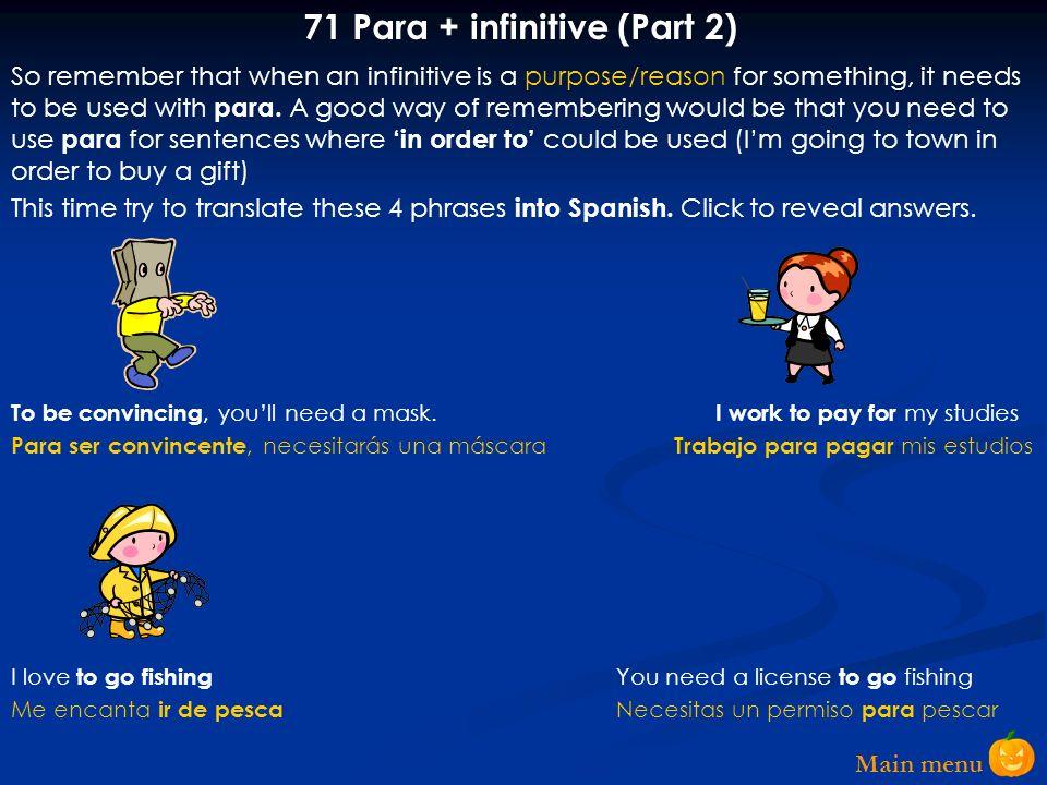 71 Para + infinitive (Part 2)
