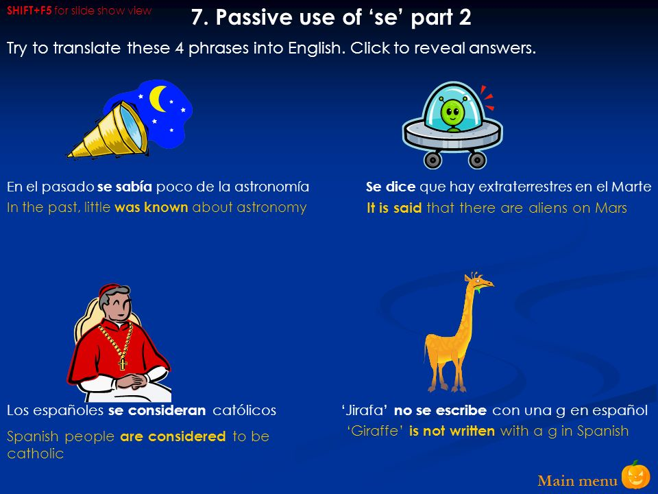 7. Passive use of 'se' part 2