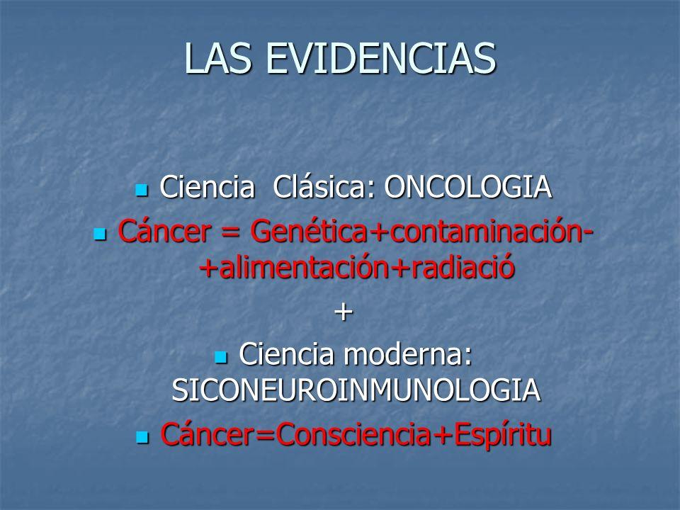 LAS EVIDENCIAS Ciencia Clásica: ONCOLOGIA