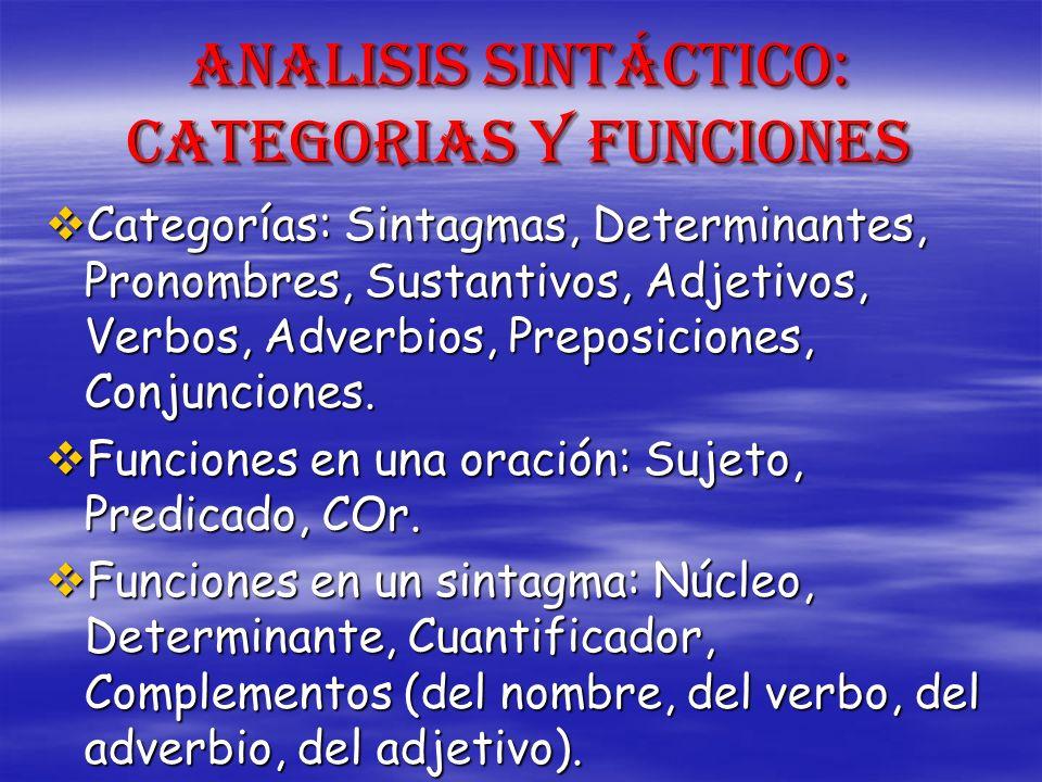ANALISIS SINTÁCTICO: CATEGORIAS Y FUNCIONES