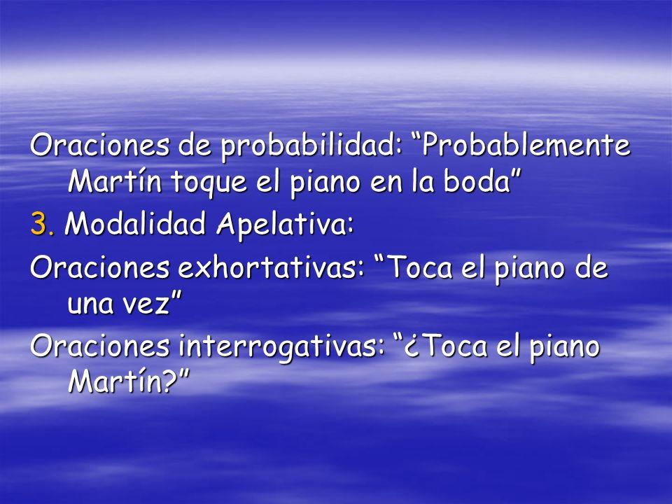 Oraciones de probabilidad: Probablemente Martín toque el piano en la boda