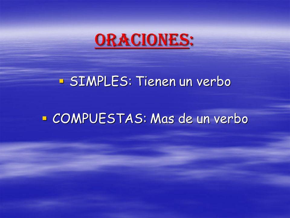 ORACIONES: SIMPLES: Tienen un verbo COMPUESTAS: Mas de un verbo