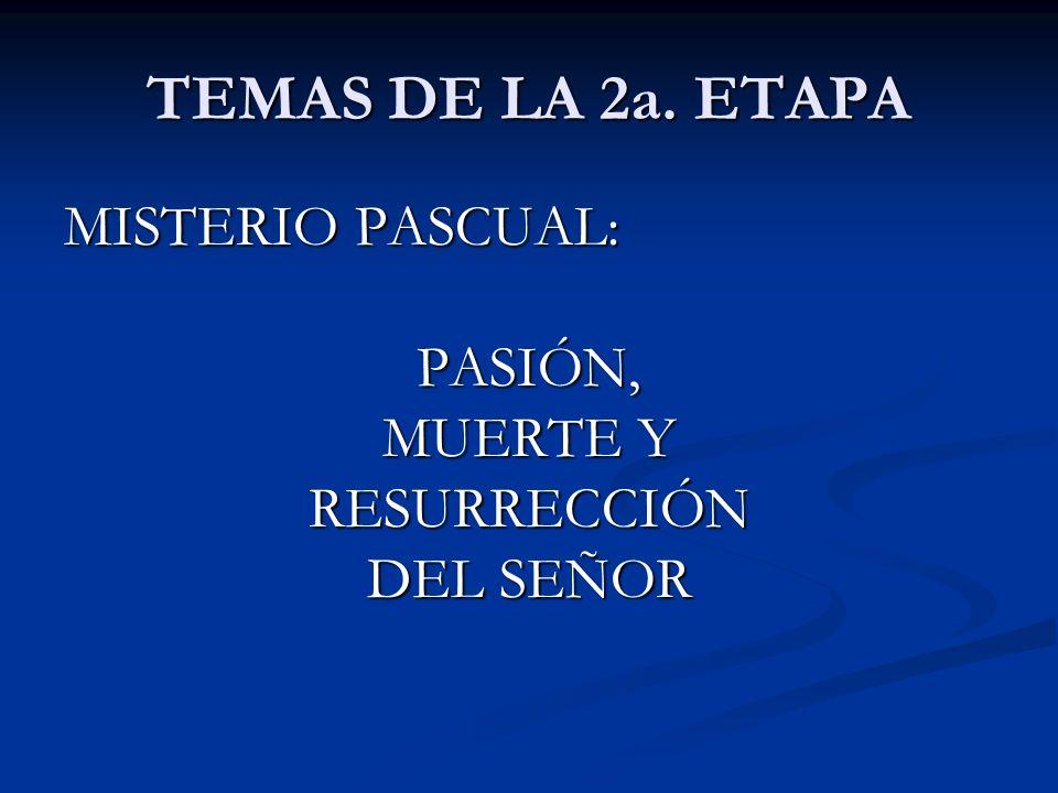 TEMAS DE LA 2a. ETAPA MISTERIO PASCUAL: PASIÓN, MUERTE Y RESURRECCIÓN DEL SEÑOR