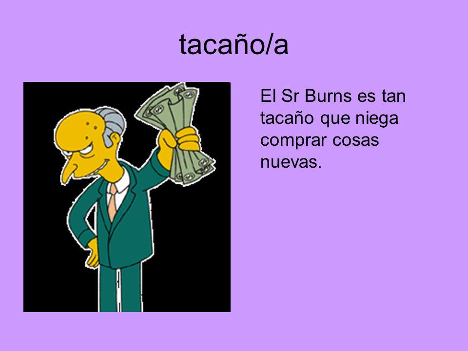 tacaño/a El Sr Burns es tan tacaño que niega comprar cosas nuevas.