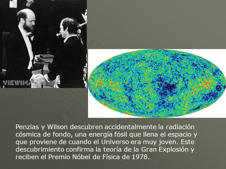 Penzias y Wilson descubren accidentalmente la radiación cósmica de fondo, una energía fósil que llena el espacio y que proviene de cuando el Universo era muy joven.