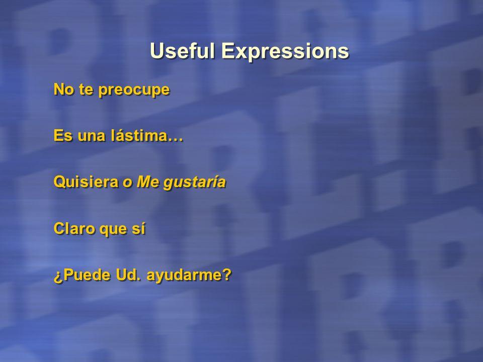 Useful Expressions No te preocupe Es una lástima…