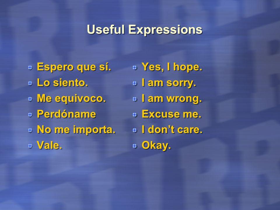 Useful Expressions Espero que sí. Lo siento. Me equivoco. Perdóname