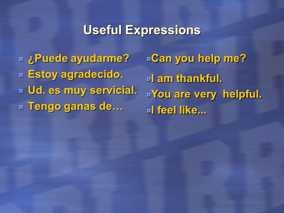 Useful Expressions ¿Puede ayudarme Estoy agradecido.