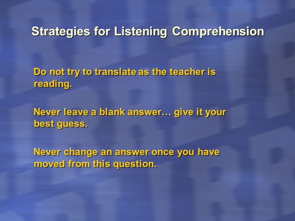 Strategies for Listening Comprehension