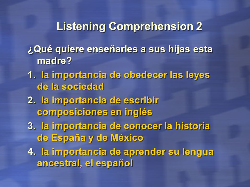 Listening Comprehension 2