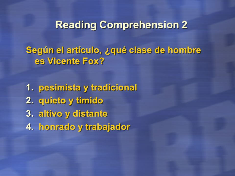 Reading Comprehension 2