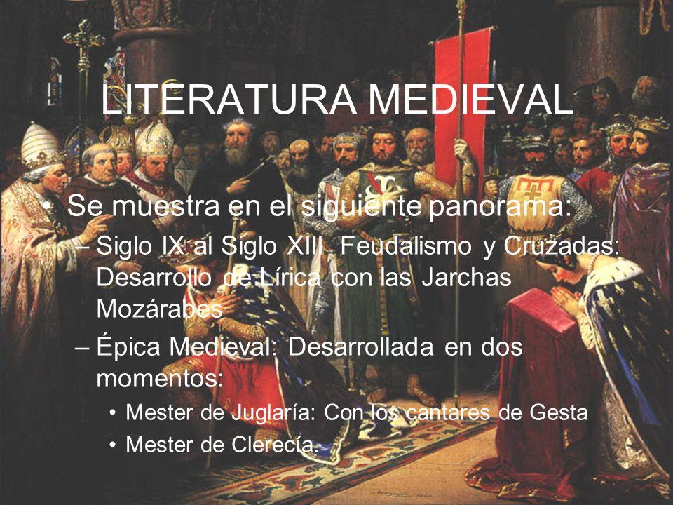 LITERATURA MEDIEVAL Se muestra en el siguiente panorama:
