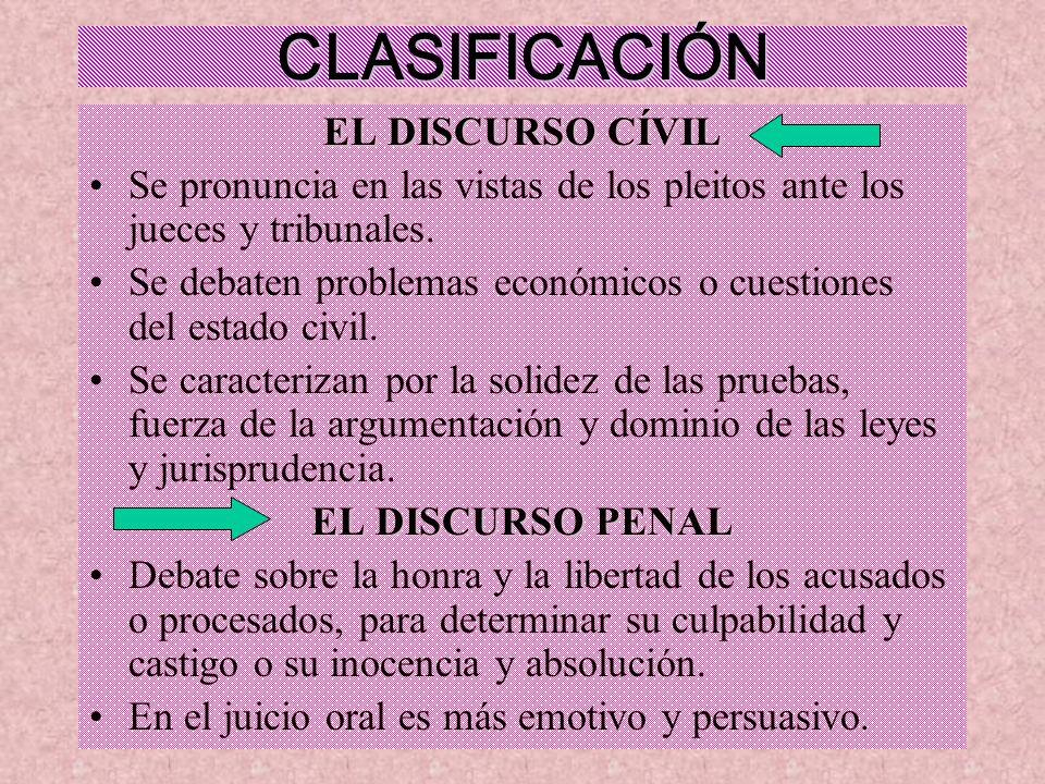 CLASIFICACIÓN EL DISCURSO CÍVIL