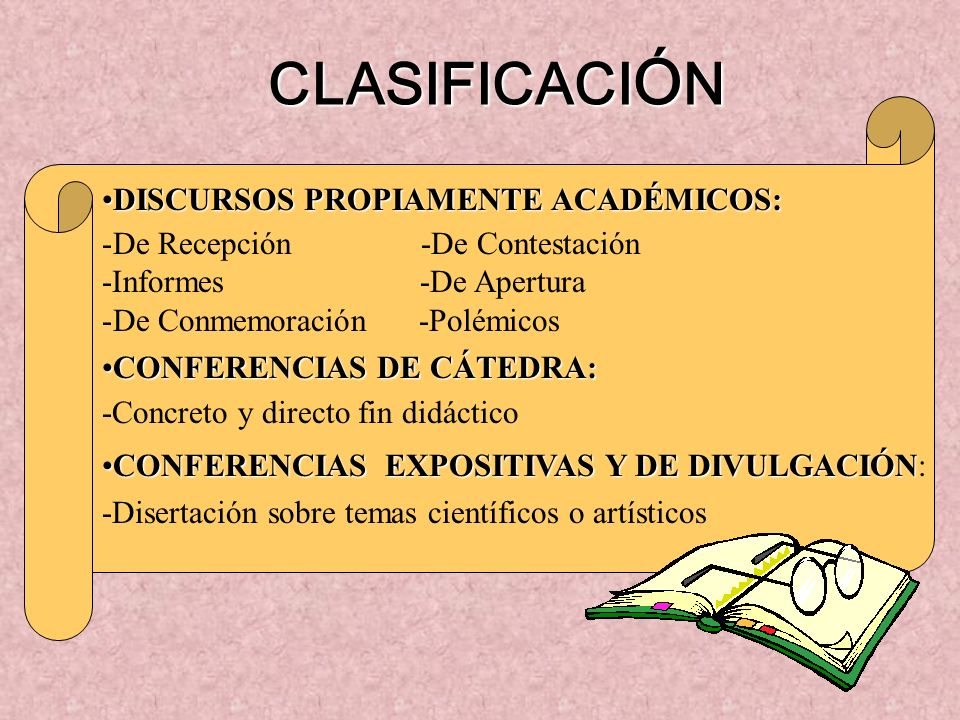 CLASIFICACIÓN DISCURSOS PROPIAMENTE ACADÉMICOS: