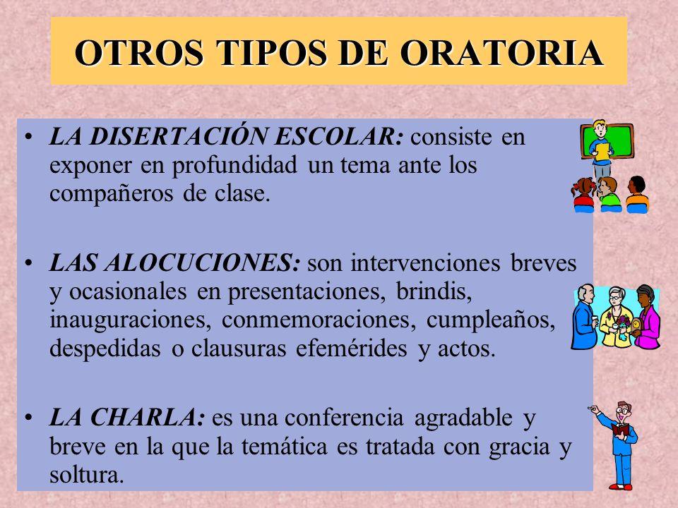 OTROS TIPOS DE ORATORIA