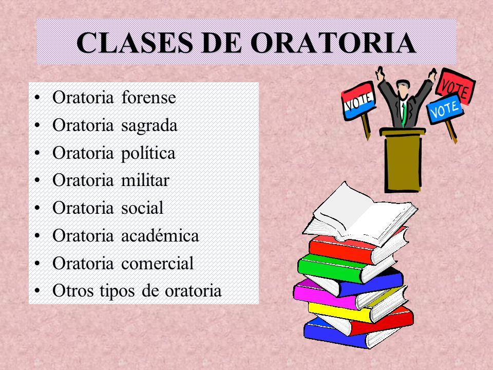 CLASES DE ORATORIA Oratoria forense Oratoria sagrada Oratoria política