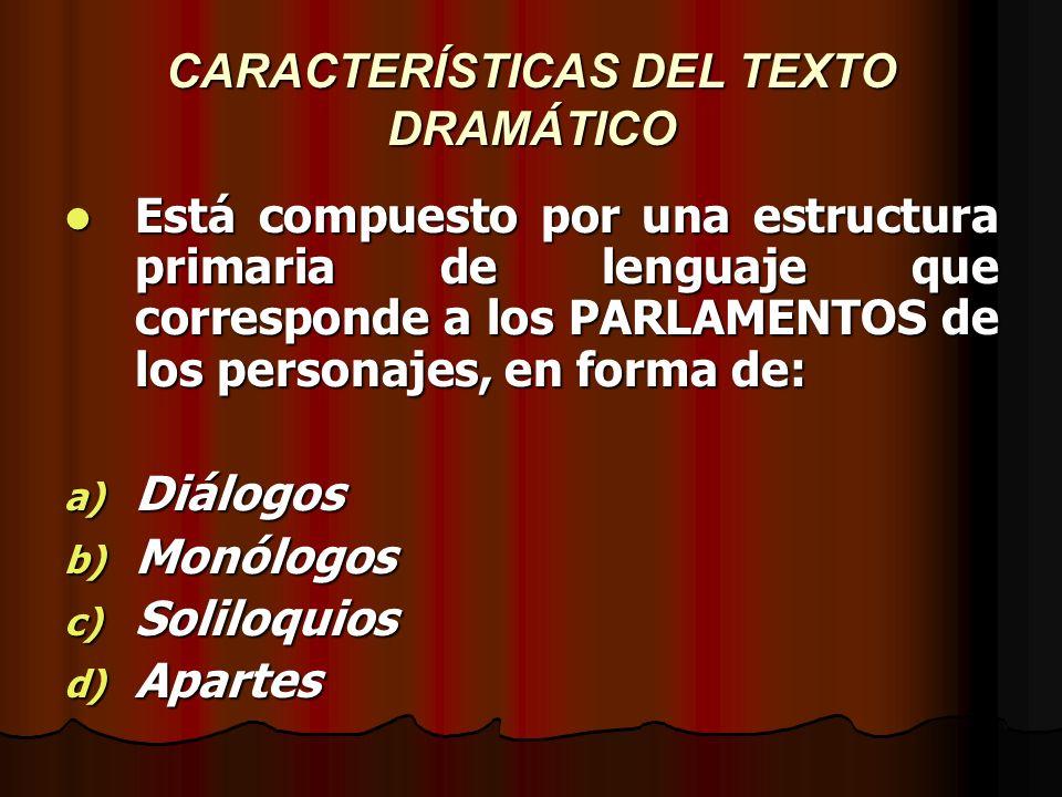 CARACTERÍSTICAS DEL TEXTO DRAMÁTICO