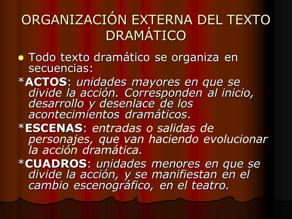 ORGANIZACIÓN EXTERNA DEL TEXTO DRAMÁTICO