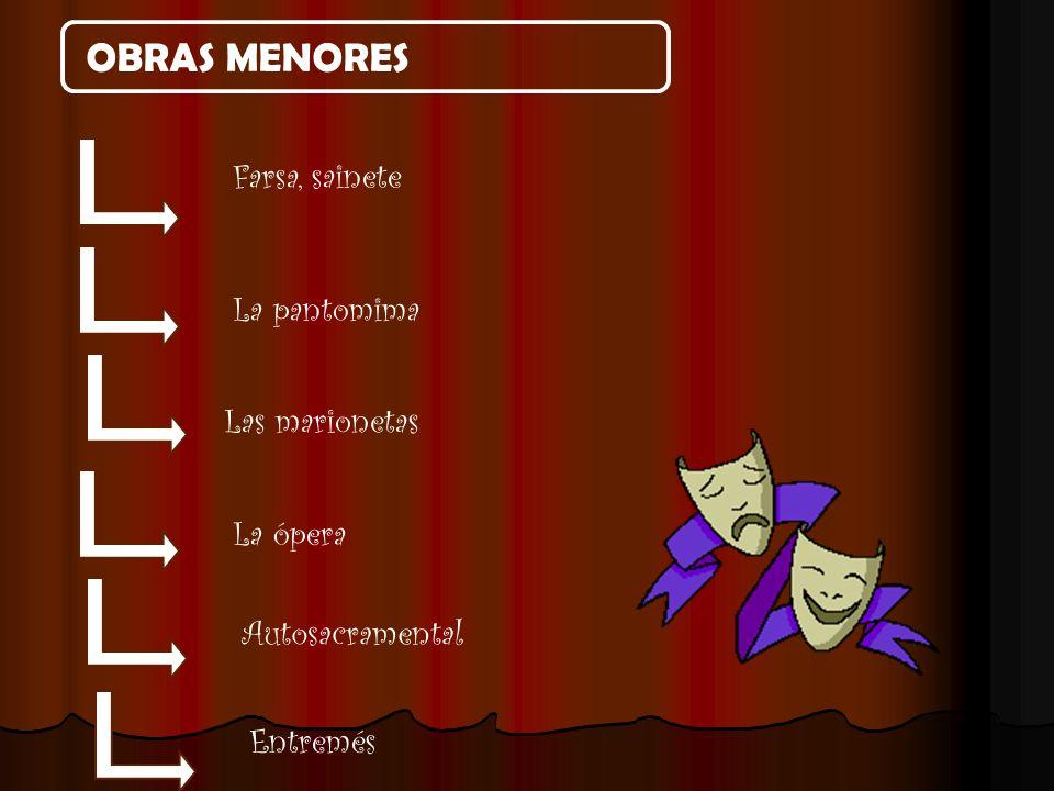 OBRAS MENORES Farsa, sainete La pantomima Las marionetas La ópera