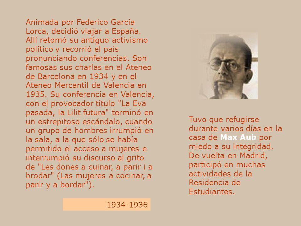 Animada por Federico García Lorca, decidió viajar a España