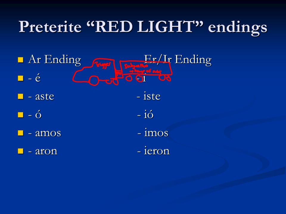 Preterite RED LIGHT endings
