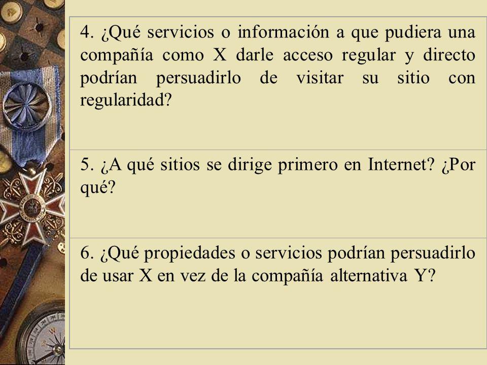 4. ¿Qué servicios o información a que pudiera una compañía como X darle acceso regular y directo podrían persuadirlo de visitar su sitio con regularidad