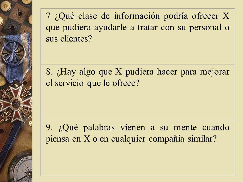 7 ¿Qué clase de información podría ofrecer X que pudiera ayudarle a tratar con su personal o sus clientes