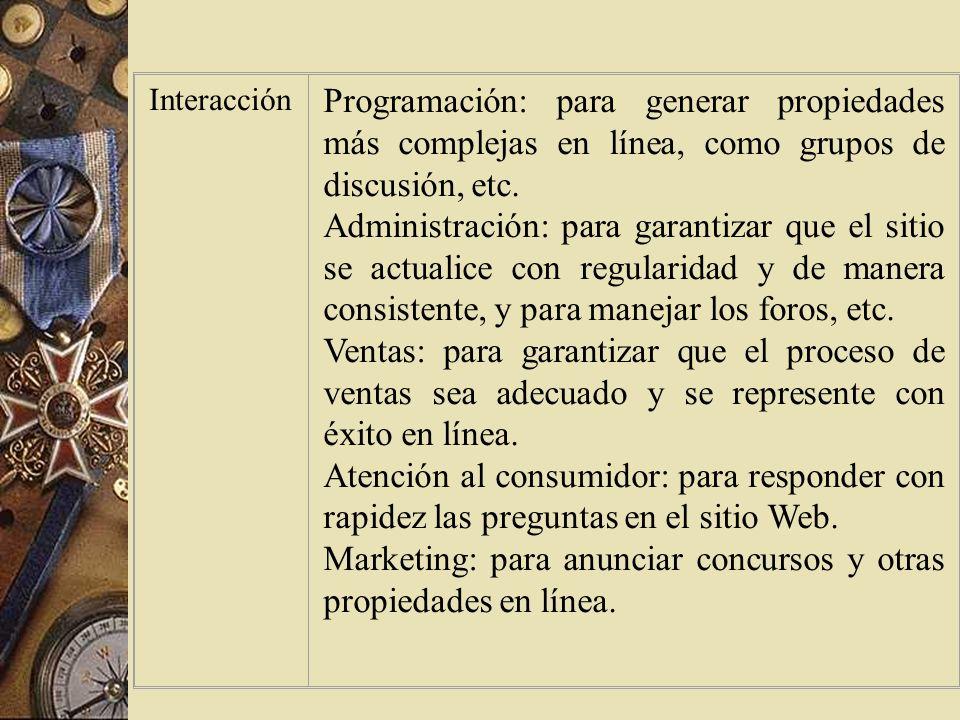 Marketing: para anunciar concursos y otras propiedades en línea.